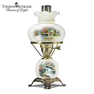 Thomas Kinkade Frosted Glass Hurricane Lamp With 2 Artworks