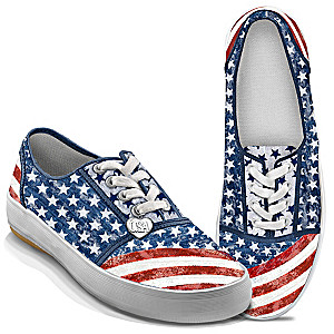 """American Pride"" Sneakers With Distressed Denim Look"