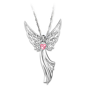 """Angel Of Hope"" Breast Cancer Awareness Crystal Pendant"