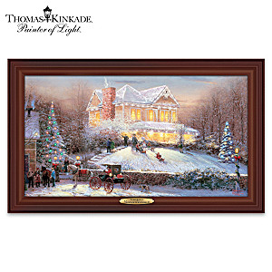 "Thomas Kinkade ""Victorian Christmas II"" Lighted Canvas Print"