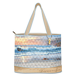"""Footprints In The Sand"" Tote Bag With Sharon Rickert Art"