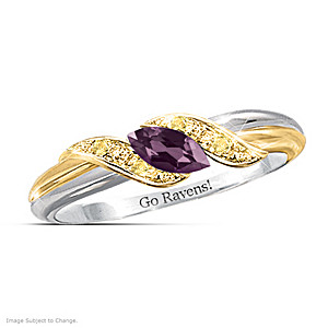 """Pride Of Baltimore"" Amethyst Engraved Embrace Ring"