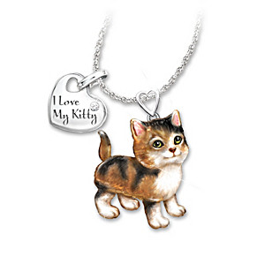 Calico Cat Diamond Pendant Necklace: Legs & Tail Move