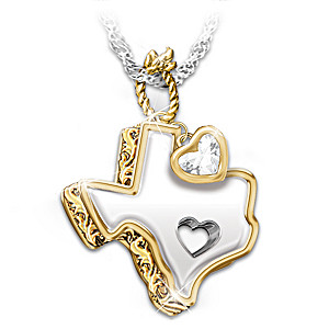 """Texas Girl At Heart"" White Topaz Pendant Necklace"
