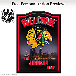 Chicago Blackhawks® Welcome Sign Personalized With Name