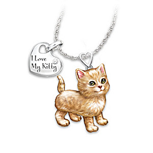 Orange Tabby Diamond Pendant Necklace: Legs And Tail Move