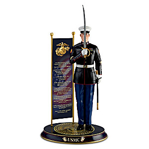 """Backbone Of The Corps"" Sculpture With Real Metal NCO Sword"