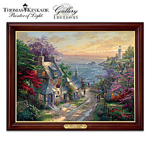 "Thomas Kinkade ""The Village Lighthouse"" Lighted Canvas Print"