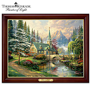 "Thomas Kinkade ""Dogwood Chapel"" Illuminating Canvas Print"