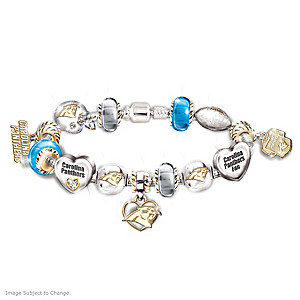 Carolina Panthers Charm Bracelet With Swarovski Crystals