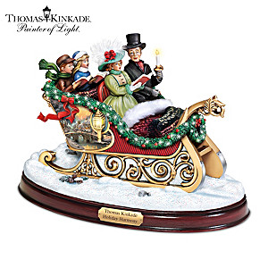"Thomas Kinkade ""Holiday Harmony"" Illuminated Singing Sleigh"