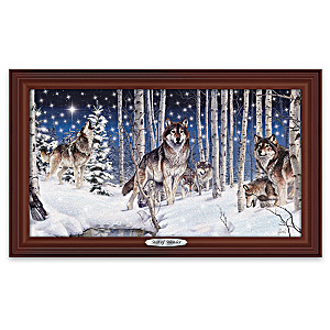 Al Agnew Illuminiated Framed Wolf Art Canvas Print