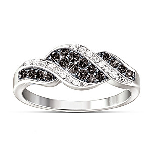 """Midnight Serenade"" Black And White Diamond Ring"
