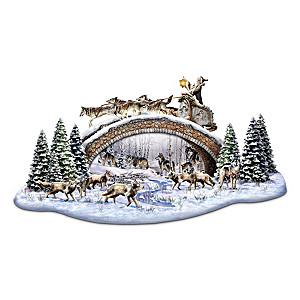 Al Agnew Lighted Wildlife Sculpture With Santa On Bridge