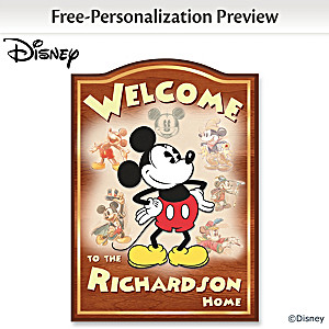 Mickey Mouse Wooden Welcome Sign Personalized With Your Name