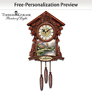 Personalized Wall Clock With 4 Thomas Kinkade Art Plaques