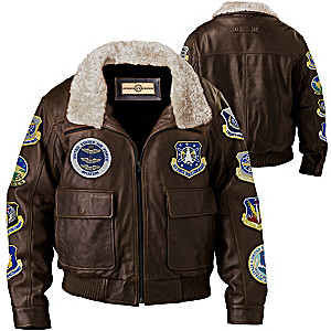 Flying Ace Leather Aviator Jacket With Replica USAF Patches