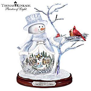 Thomas Kinkade All Hearts Come Home Musical Crystal Snowman