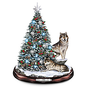 Al Agnew Lighted Tabletop Holiday Tree With Sculpted Wolves