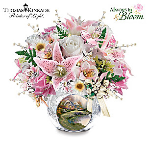 Thomas Kinkade Handmade Bouquet Lighted Crystal Centerpiece