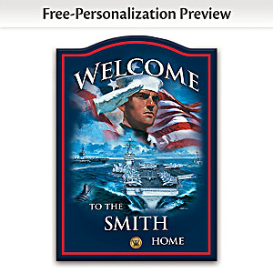 U.S. Navy Wooden Welcome Sign Personalized With Name