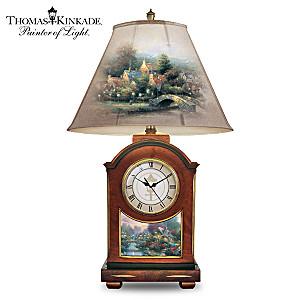 "Thomas Kinkade ""Life's Golden Moments"" Tabletop Clock Lamp"