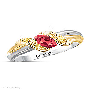 Pride Of San Francisco Ruby Engraved Embrace Ring