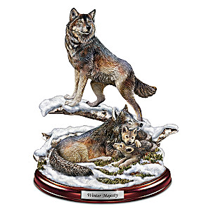 """Winter Majesty"" Wolf Den Sculpture"