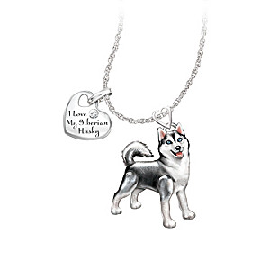 Playful Pup Diamond Pendant Necklace - Siberian Husky