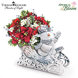 Thomas Kinkade Lighted Musical Crystal Sleigh Centerpiece