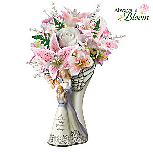 """I Love You"" Always In Bloom Illuminated Angel Vase"