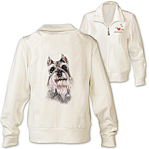 Schnauzer Embroidered Knit Jacket With Sequins