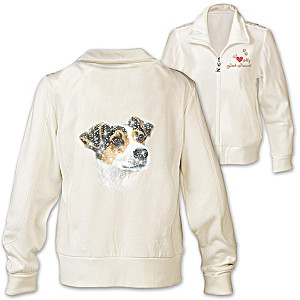 Jack Russell Embroidered Knit Jacket With Sequins