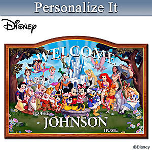 """Magic Of Disney"" Wooden Welcome Sign Personalized With Name"