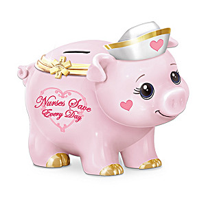 """Nurses Save Every Day"" Porcelain Musical Piggy Bank"