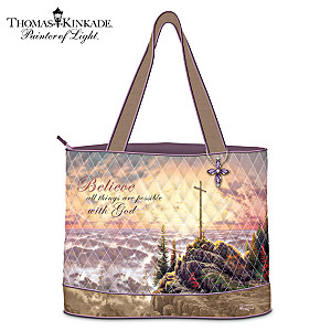 "Thomas Kinkade ""Believe"" Inspirational Quilted Tote Bag"