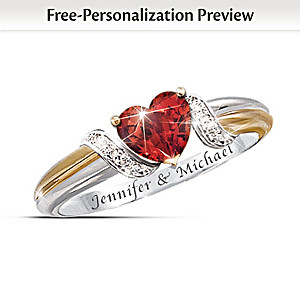 """Heart's Embrace"" Couples Engraved Garnet Ring"