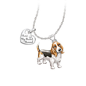 Playful Pup Diamond Pendant Necklace - Basset Hound