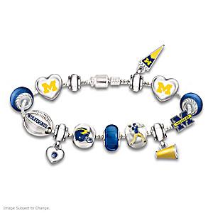 Wolverines Charm Bracelet With Swarovski Crystals