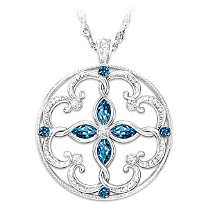 Topaz Necklace With Engraved Blessings For Granddaughters