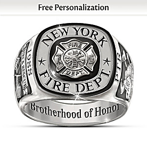 Firefighters Tribute Customized Stainless Steel Men's Ring
