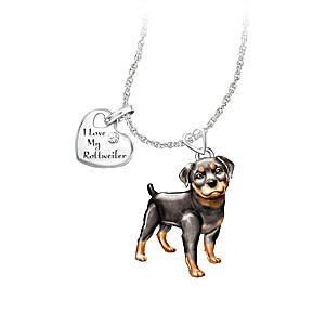 Playful Pup Diamond Pendant Necklace - Rottweiler