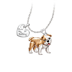 Playful Pup Diamond Pendant Necklace - Bulldog