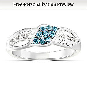 Personalized Blue And White Diamond Couples Ring