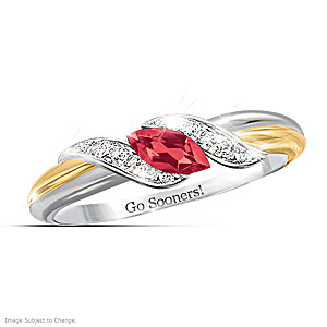 """""""Pride of Sooners"""" Ruby Engraved Embrace Ring"""