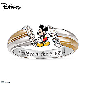"""The Magic Of Mickey Mouse"" Diamonesk Embrace Ring"