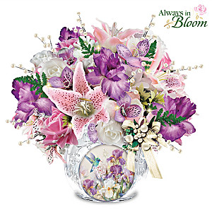 Lena Liu Always In Bloom Lighted Crystal Centerpiece