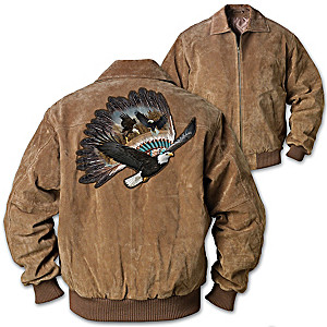 Eagle Warrior Suede Bomber Jacket With Eagle Headdress Patch