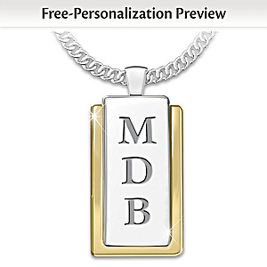 """My Father, My Hero"" Initials-Engraved Dog Tag Pendant"