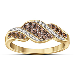 """Sweet Decadence"" Mocha-Colored And White Diamond Ring"
